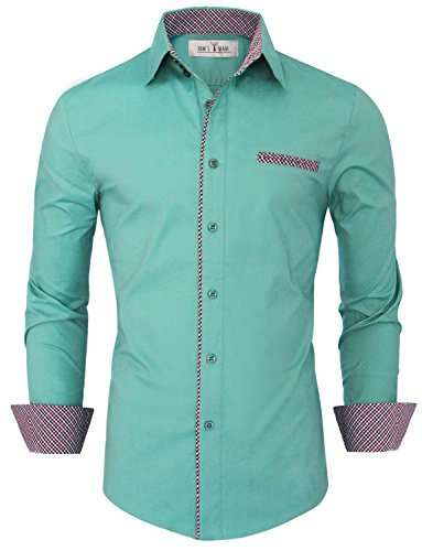 Tom's Ware Mens Premium Casual Inner Contrast Dress Shirt TWNMS310S-1-MINT-3XL