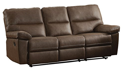Homelegance Nell Double Reclining Sofa Leather Gel Match, Brown