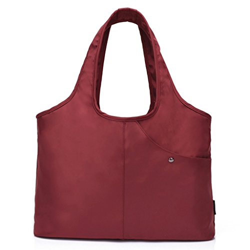 Tote Shoulder Bag Women Nylon Handbag Large Capacity Shopper Bags with Water-Resistant Pocket for Wet Umbrella (Red) (Tote Easy Zip)