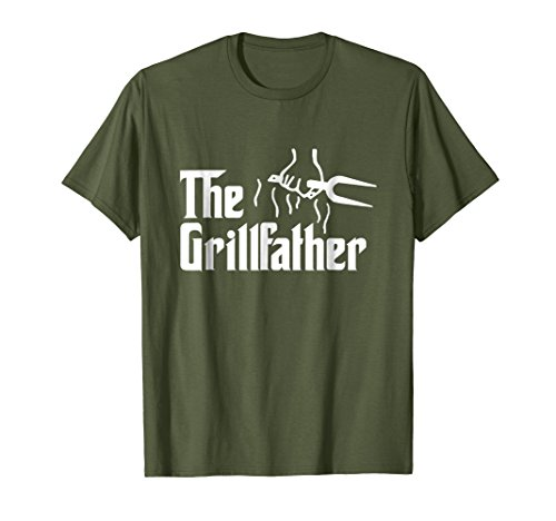 Mens The Grillfather Funny BBQ Dad BBQ Grill Dad Grilling T Shirt 2XL Olive