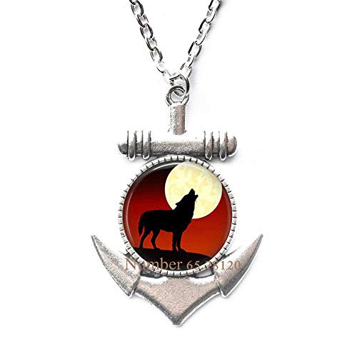 Yijianxhzao Wolf Anchor Necklace Howling Wolves Animal Jewelry Full Moon Art Pendant,Wolf Jewelry,Wolves Anchor Necklace,BV111 (V1)