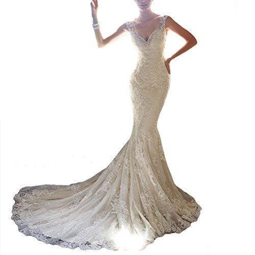 Abaowedding Long Sleeve Ivory Lace Stain Wedding Dresses (size8)