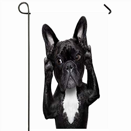 Ahawoso Seasonal Garden Flag 12x18 Inches Announcement Say French Bulldog Dog Listening Carefully What Communicate Listen Ring Help Pet Ear Home Decorative Outdoor Double Sided House Yard Sign