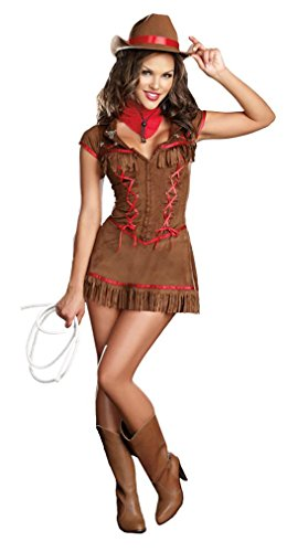 Dreamgirl Giddy Up Costume, Brown, Large (Sexy Cowgirl Lingerie)