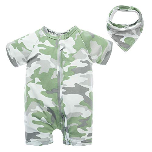 - BIG ELEPHANT Baby Boys'2 Piece Summer Short Sleeve Pajama Graphic Zipper Romper with Bib