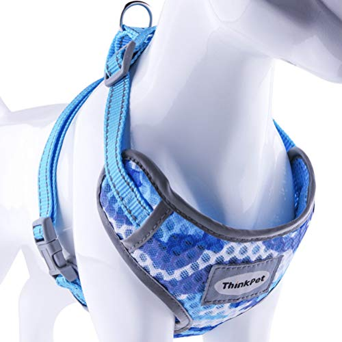 ThinkPet Reflective Breathable Soft Air Mesh No Pull Puppy Choke Free Over Head Vest Ventilation Harness for Puppy Small Medium Dogs and Cats Camouflage Blue Neck 9-15 in/Chest 13-20 in from ThinkPet