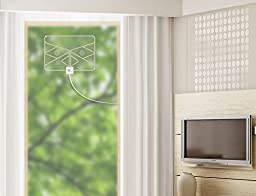 1byone Window Antenna 50 Miles Super Thin Amplified Digital HDTV Antenna with 20ft Coaxial Cable, Extreme Soft Design and Lightweight