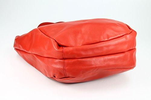 BELLI® XXL Nappaleder Shopper HoBo Beuteltasche rot - 36x34(mittig)x14 cm (B x H x T)