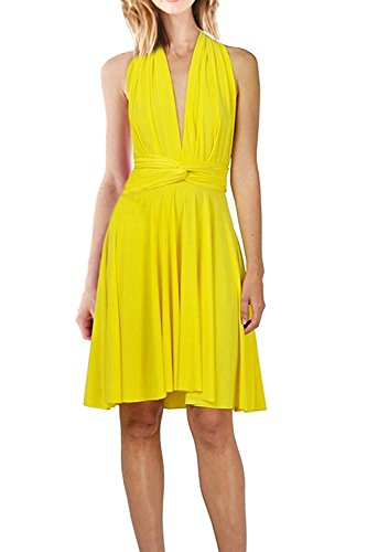 IWEMEK Women's Infinity Convertible Multi Way Wrap Halter Wedding Bridesmaid Dress Short Prom High Elasticity Cocktail Evening (Yellow Halter Gown)