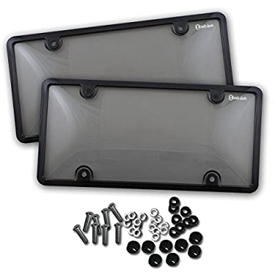 Zento Deals Unbreakable Smoked License Plate Covers and Frames-Clear-Tinted- 2 Pieces Shield Black-Fits All Standard 6x12 Inches Novelty/License Plates: Automotive