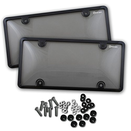 Zento Deals Unbreakable Smoked License Plate Covers and Frames-Clear-Tinted- 2 Pieces Shield Black-Fits All Standard 6x12 Inches Novelty/License Plates (Covers Tint Smoke)
