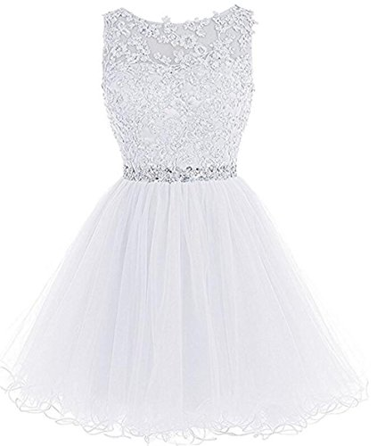 Chugu Short Prom Party Dress Homecoming Dresses for Women Junior A Line Cocktail Gown C6 White 2