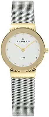 Skagen Women's Freja Quartz Two-Tone Stainless Steel Casual Watch, Color Gold and Silver-Tone (Model: 358SGSCD)
