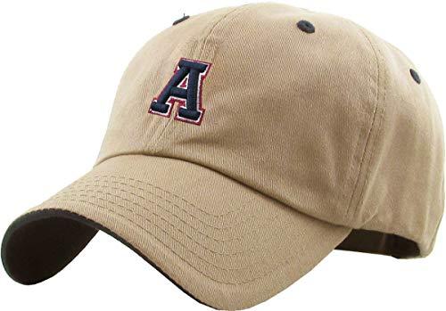 KBETHOS KPA-1463 KHK A Alphabet Letter Dad Hat Polo Cap Adjustable Khaki