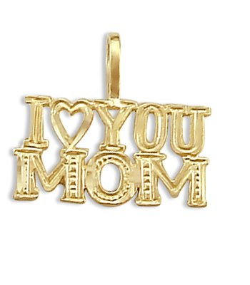 I Love You Mom Mother Pendant 14k Yellow Gold Charm 14k Yellow Gold Mom Charm