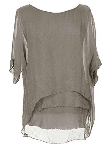 Sevello Clothing Womens Italian Short Sleeve Frill Silk Tunic Blouse USA 6-12 (Mocha)