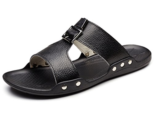 Guciheaven Men's Cowhide Leather Skid Flats Slides Sandals Black 7.5M US by GUCIHEAVEN
