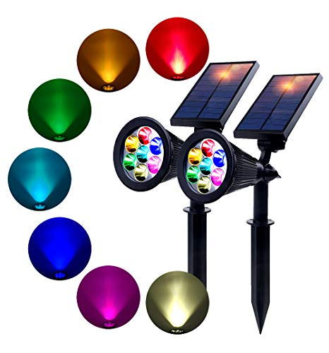 Directional 2 Spotlight - BOHON Solar Lights Outdoor - Waterproof, 2 Pack 7 LEDs Spot Light with Auto On/Off, Rechargeable Landscape Solar Lights for Yard Patio Garden Deck(Changing Color & Fixed Color)