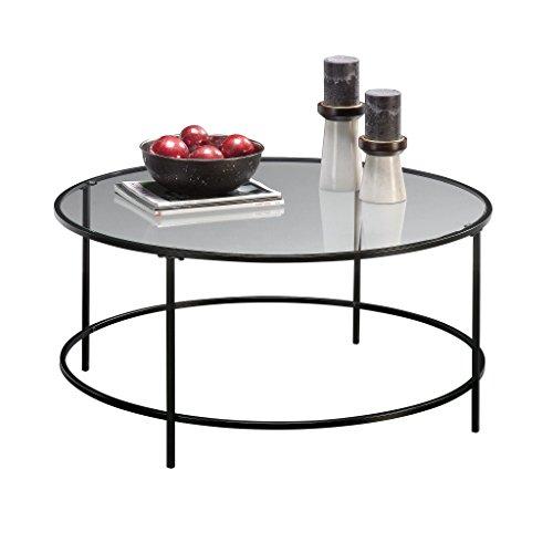 Sauder Soft Modern Round Coffee Table, Black/Clear Glass Black Round Coffee Table