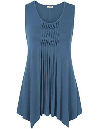Vivilli Tops For Women Loose Fit, Summer Sleeveless Handkerchief Hem Pleated Flowy Tunic Tanks Tops Blue Grey (Multi Colored Sleeveless Top)