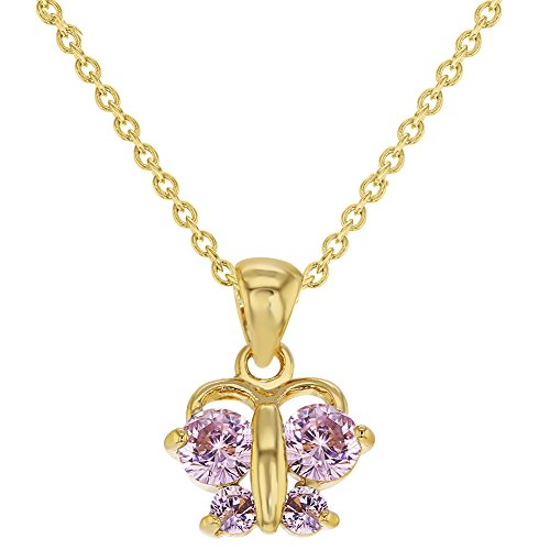 18k Gold Plated Pink Butterfly Pendant Necklace Toddler Girls Children 16
