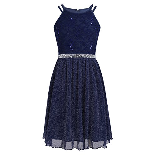 FEESHOW Big Girls Sequins Lace Bodice Halter Junior Bridesmaid Dress Shimmer Mesh Wedding Party Prom Gown Navy Blue 14