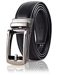 SIGLO® Cinturón para Hombres de Piel con Hebilla Automática - Diseño sin Agujeros - Cinturón de Clic Ajustable - Se adapta a tamaños 30-44 - Corte a su Ajuste Exacto - Hebilla Plata Clásica