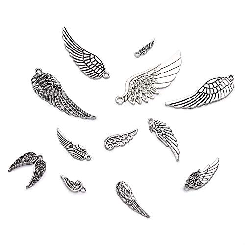 Kissitty 100g Antique Silver Angel Wing Spacer Charms 0.94~2.2 Inch Long Tibetan Metal Feather Pendants for DIY Craft Jewelry Making (About 30pcs/Bag)