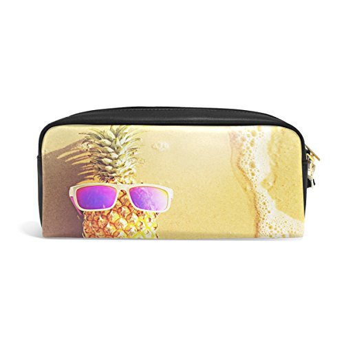ABLINK Pineapple in Sunglasses on Ocean Beach Pencil Pen Case Pouch Bag with Zipper for Travel, School, Small Cosmetic - Pu Zipper Pouch Soft Sunglasses