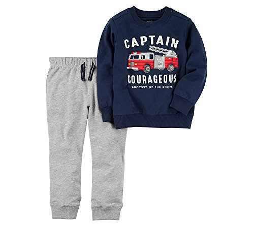 Carter's Baby Boys' French Terry Firetruck Pullover and Joggers Set Newborn Blue/Gray