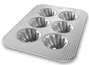 USA Pan Bakeware Swirl Cupcake Pan, 6 Well, Nonstick & Quick Release Coating, Made in the USA from Aluminized Steel