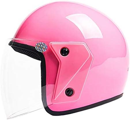 NJ ヘルメット- 電動バイクヘルメットの男性と女性の四季ユニバーサル透明な防曇ハーフカバーヘルメット (色 : 赤, サイズ さいず : 32x26x25cm)