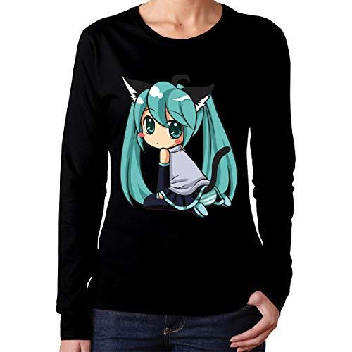 LIALUER Hatsune Miku Women's Comfort Long Sleeve T-Shirt Cotton Crew Neck -