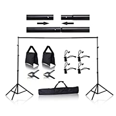 EMART Photo Studio Background Support Kit for muslin, green screen, canvas, or paper backdrops, aluminum alloy construction for Stablizing the backdrop. The system is an excellent option for professional and amateur photographers to set up a ...