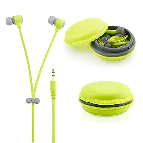 GEARONIC TM Stereo 3.5mm In Ear Earphones Earbuds Headset with Macaron Case For iPhone Samsung MP3 iPod PC Music - Green