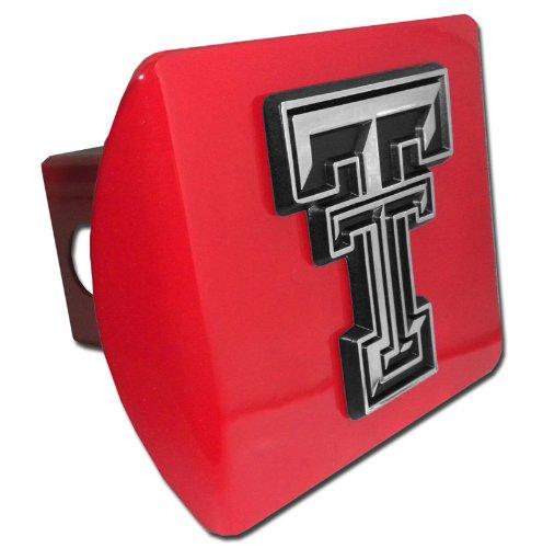 (Texas Tech Raiders Red TT Emblem NCAA Trailer Hitch Cover Fits 2 Inch Auto Car Truck Receiver)