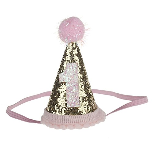 Stock Show 1st Pet Birthday Cone Hat Dogs Cats Holiday Party Hat Headwear Costume with Blingbling Pom-poms Topper and Adjustable Headband for Small Medium Dogs Cats Pets Baby, Pink&Golden ()