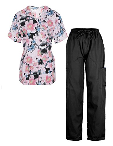G Med Women's 2 Pieces Missy Fit Printed Scrub Mock Wrap Top and Pant Set(SET-MED,BLKA7-L) Premium Knit Tee
