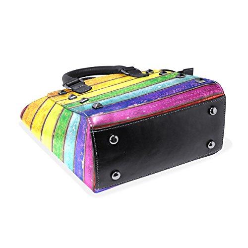Leather Wood Vintage Women's Handbags Colorful TIZORAX Shoulder Tote Bags Planks qUE1xX