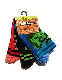 Minecraft Boys Crew Socks, Pack of 3 (shoe size 3-6)