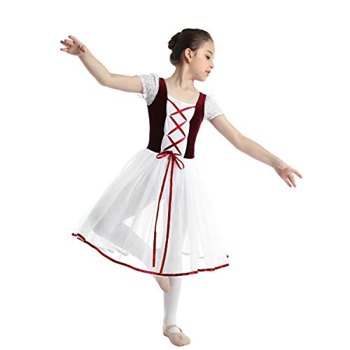 (inhzoy Girls Romantic Ballet Tutu Dress Short Sleeves Velvet Gymnastics Leotard Skating Costume Burgundy 3-4)