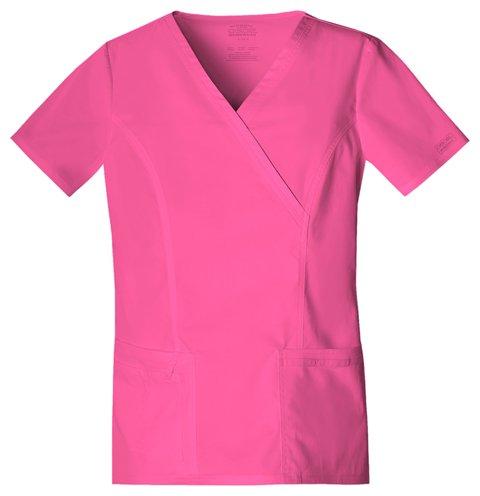 kwear Scrubs Core Stretch Mock-Wrap Top (Medium), Shocking Pink ()