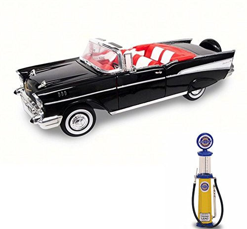Chevy Diecast Car & Gas Pump Package - 1957 Chevrolet Bel Air Convertible, Black - Road Signature 92108 - 1/18 Scale Diecast Model Toy Car w/Gas Pump