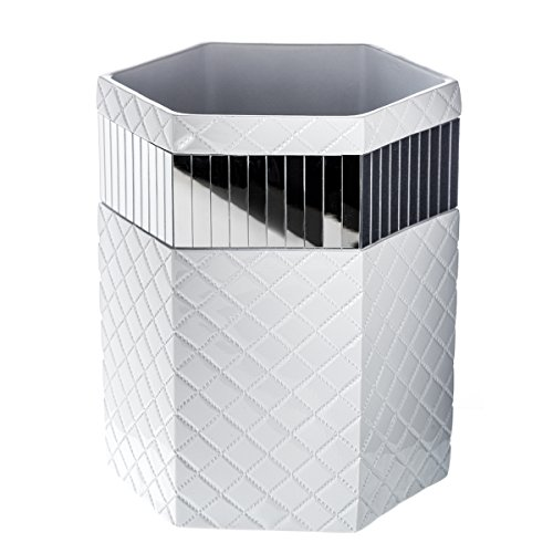 "Quilted Mirror Bathroom Trash Can (8.1"" x 7 x 9.8"") – Decorative Wastebasket- Durable Waste Paper Baskets- Cool Fashion Design- Space Friendly Bath Rubbish Dust Bin- For Elegant Shower Décor (White Wicker Bathroom Accessories)"