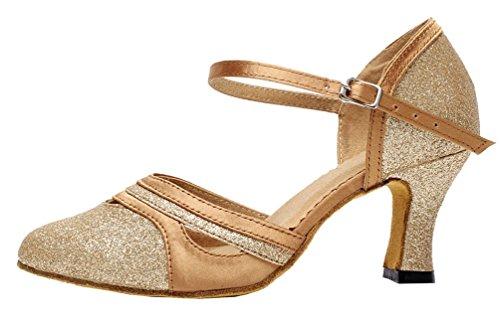 Salabobo AQQ-7012 Womens Latin Tango Ballroom Party wedding PU Dance-shoes Gold TrtfX