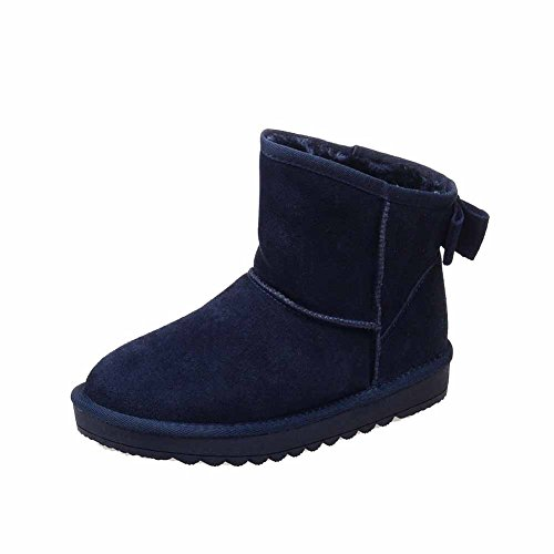 top Closed Heels Round Snow Women's Frosted Toe Low AmoonyFashion Boots Solid Blue Low f6RqHE