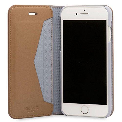 Knomo 90-972-CAR Premium Folio-Ledertasche für Apple iPhone 7 caramel