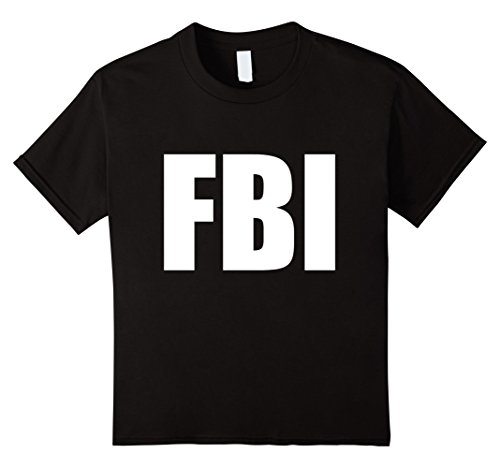 Kids FBI Replica Agent Inspector Funny Halloween Costume T-Shirt 12 (Fbi Costumes For Boys)