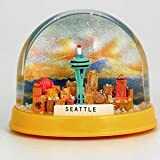 NS SM Seattle Snow Globe Space Needle Groovy Colors With Copyrighted Seattle Magnet