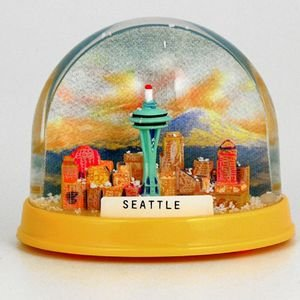 (NS SM Seattle Snow Globe Space Needle Groovy Colors With Copyrighted Seattle Magnet)